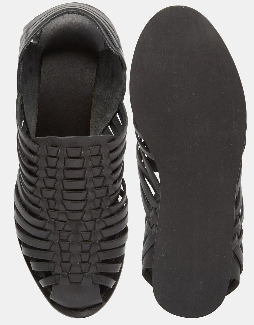 6938271541d ASOS Woven Sandals In Black Leather for men