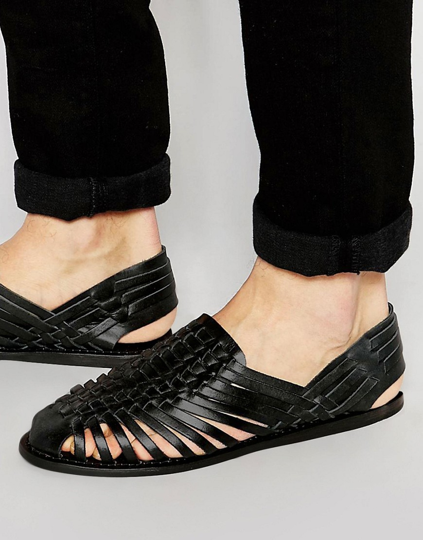Asos Woven Sandals In Black Leather In Black For Men Lyst