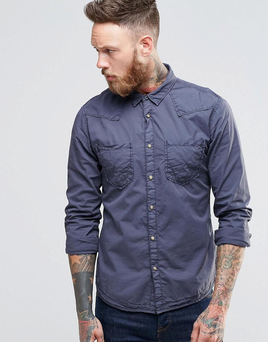 Lyst wrangler slim western shirt in lightweight iron for Wrangler denim shirts uk