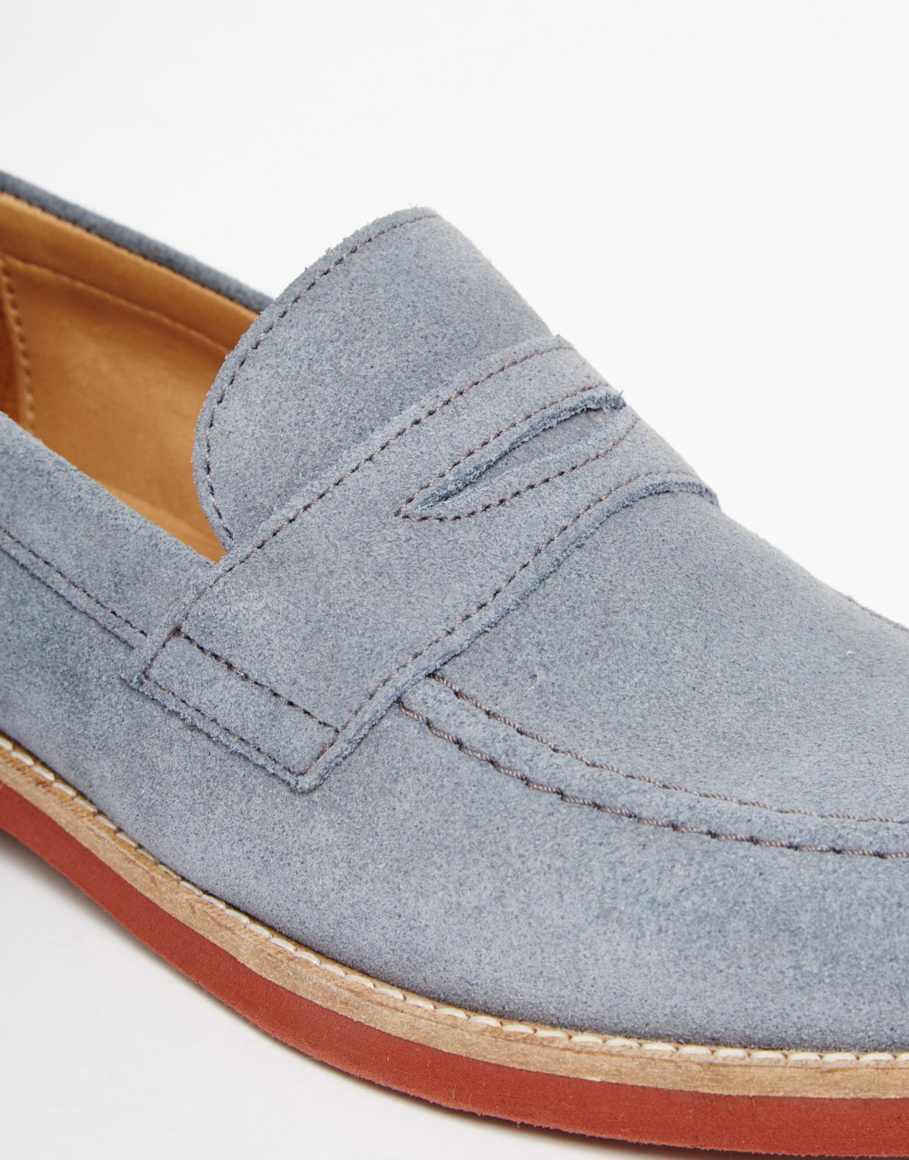 ASOS Penny Loafers In Blue Suede in Blue for Men - Lyst