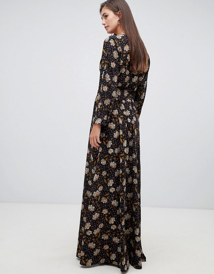 ed0f18a996 Y.A.S Retro Floral Maxi Dress in Black - Lyst