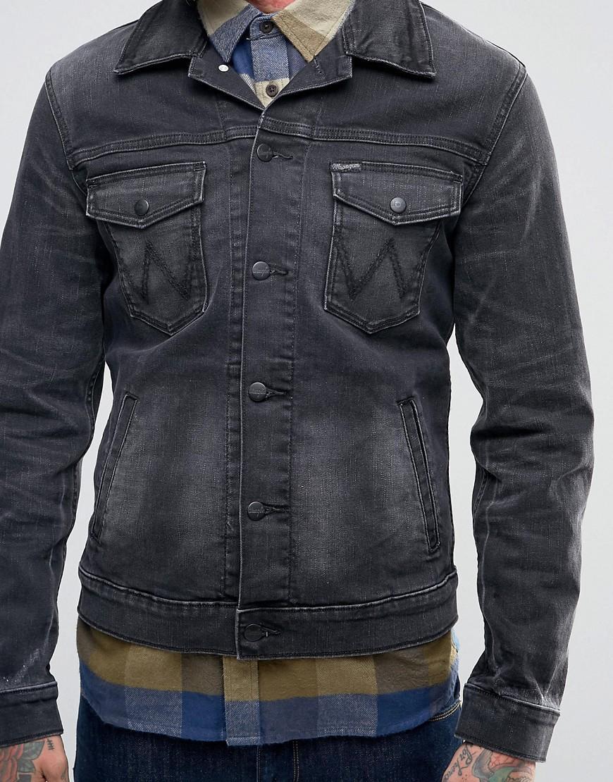 Lyst wrangler black denim jacket in black for men for Wrangler denim shirts uk