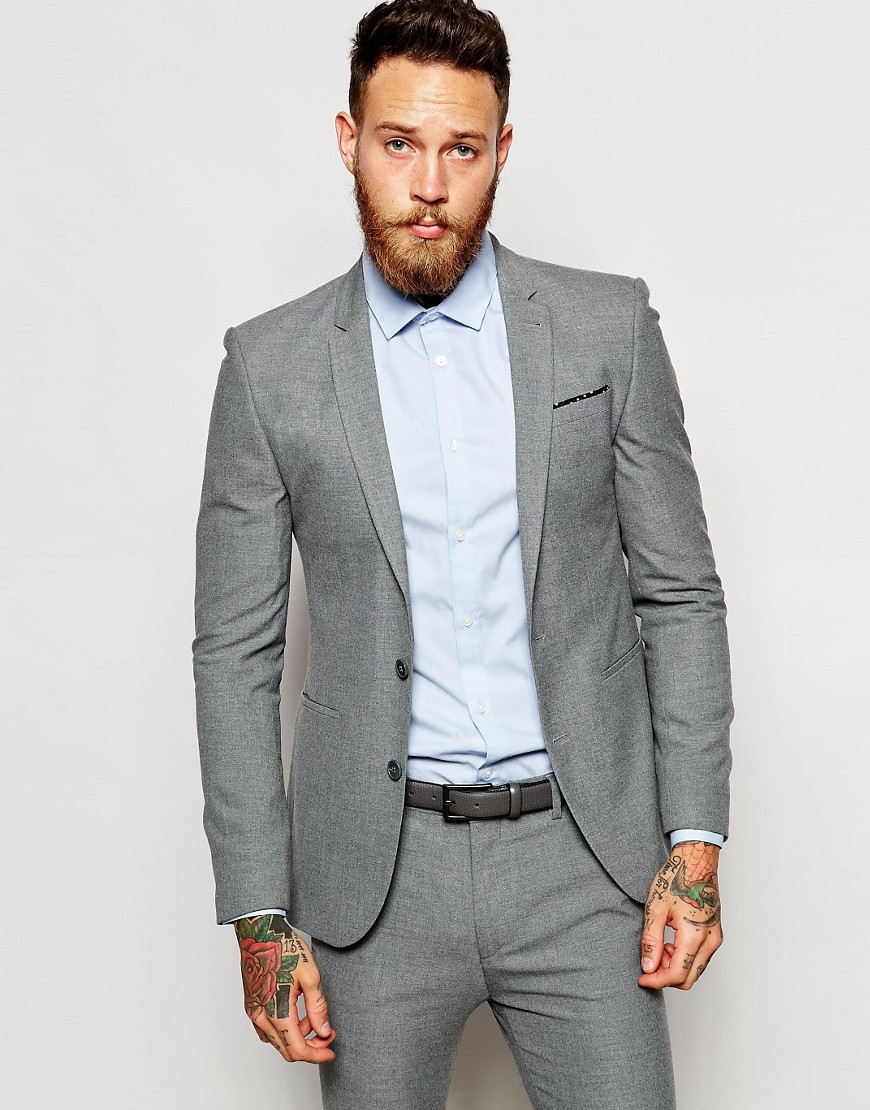 Asos Super Skinny Suit Jacket In Light Gray in Gray for Men | Lyst