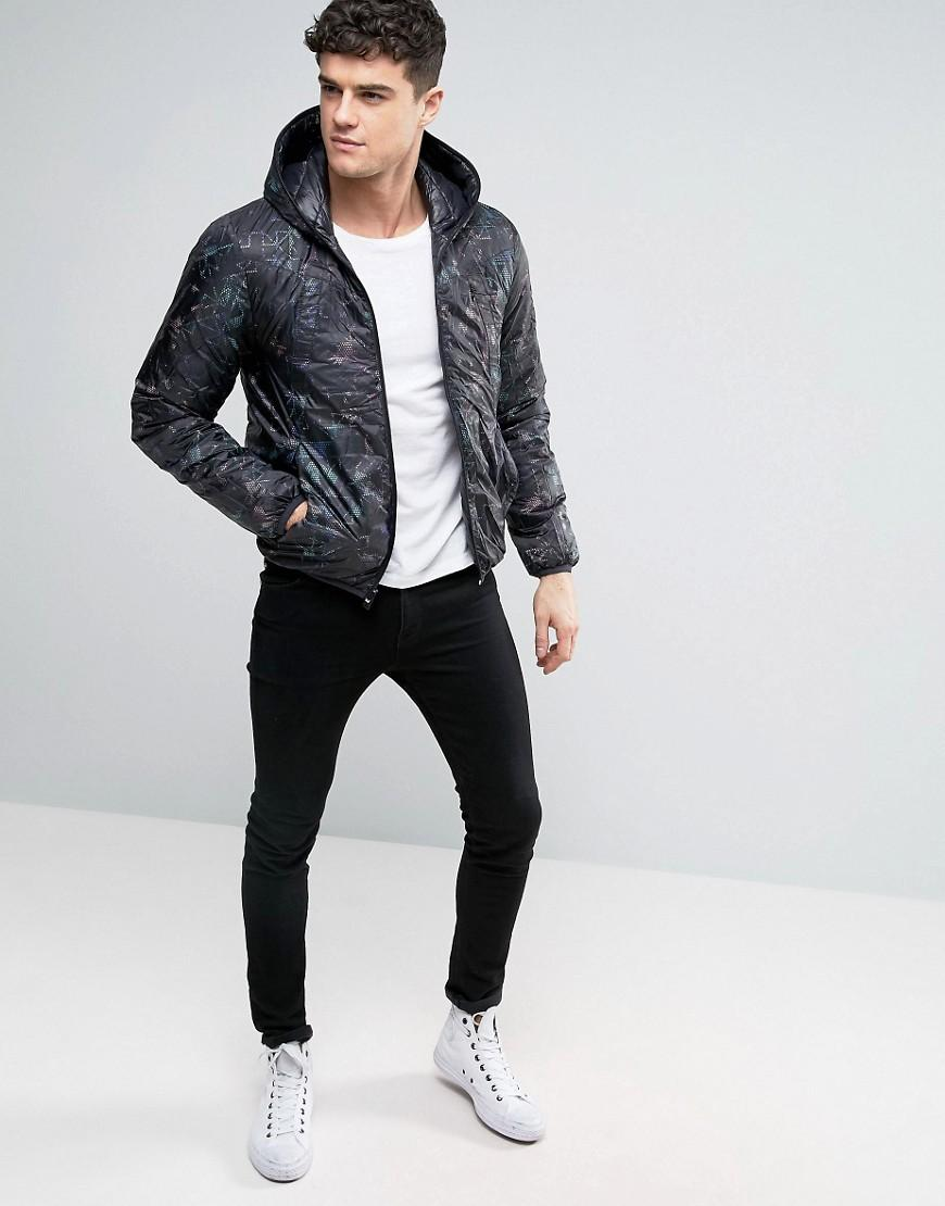 Replay Synthetic Reversible Quilted Hooded Jacket In Black And Digi Print for Men