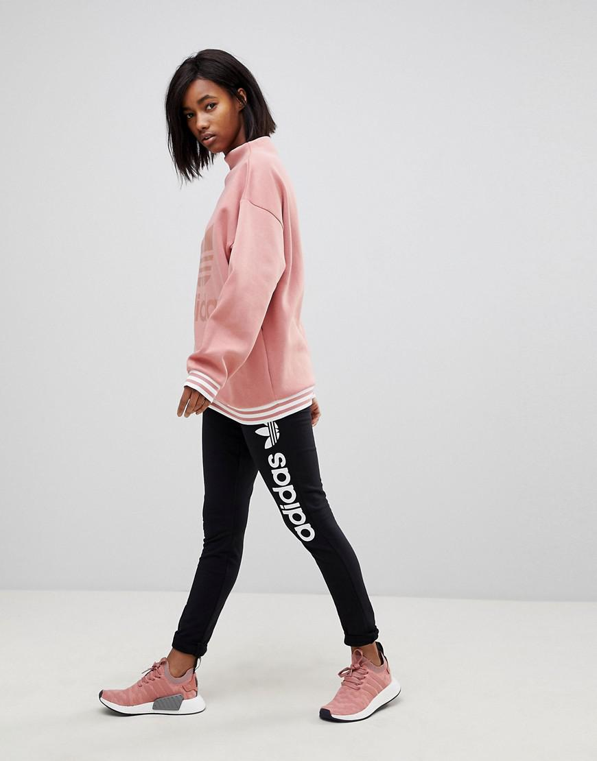 timeless design on sale good quality Originals Adicolor High Neck Pink Sweatshirt With Three Stripe Trim