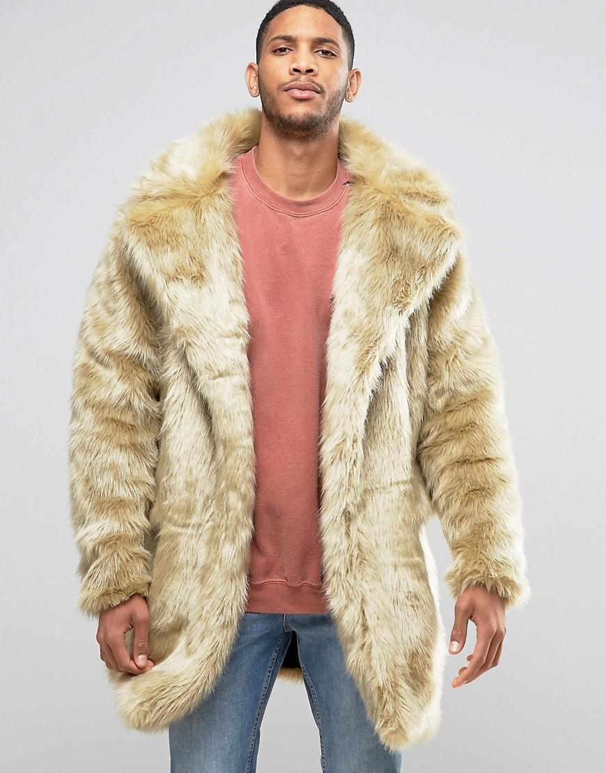 The new county Faux Fur Coat in Natural for Men | Lyst