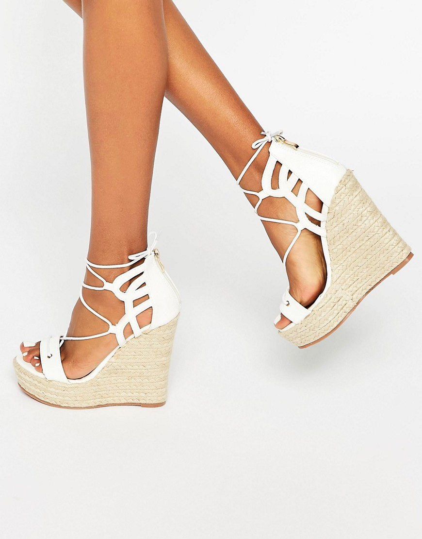 tie up wedge espadrilles in white lyst