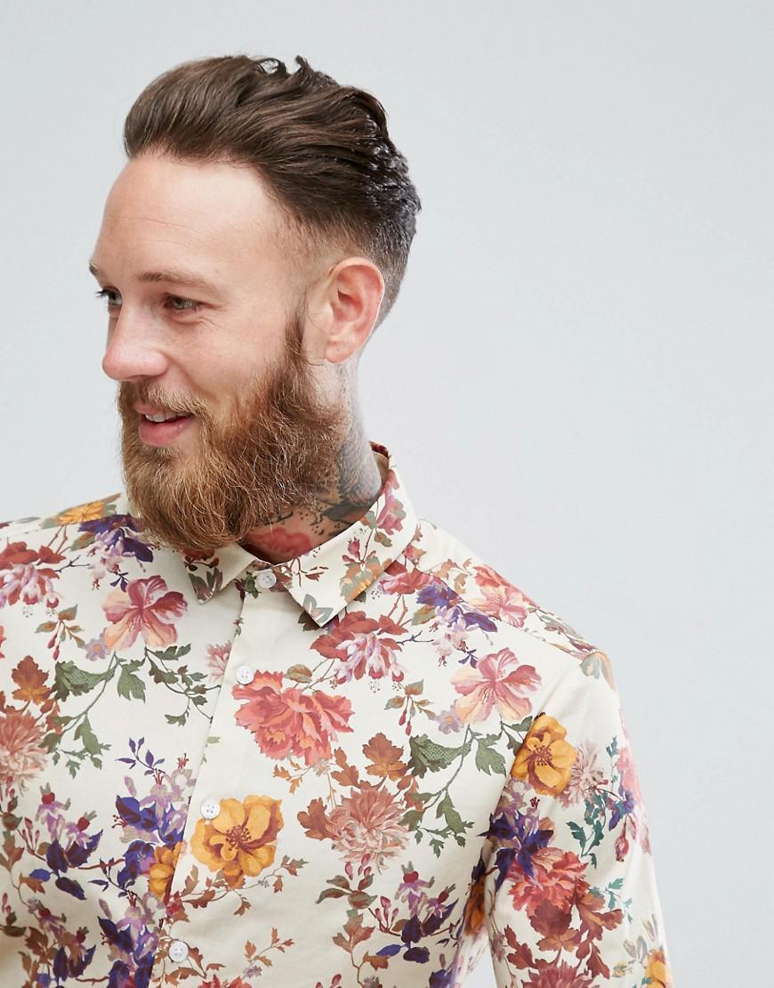 ASOS Cotton Design Skinny Shirt With Floral Print in Beige (Natural) for Men