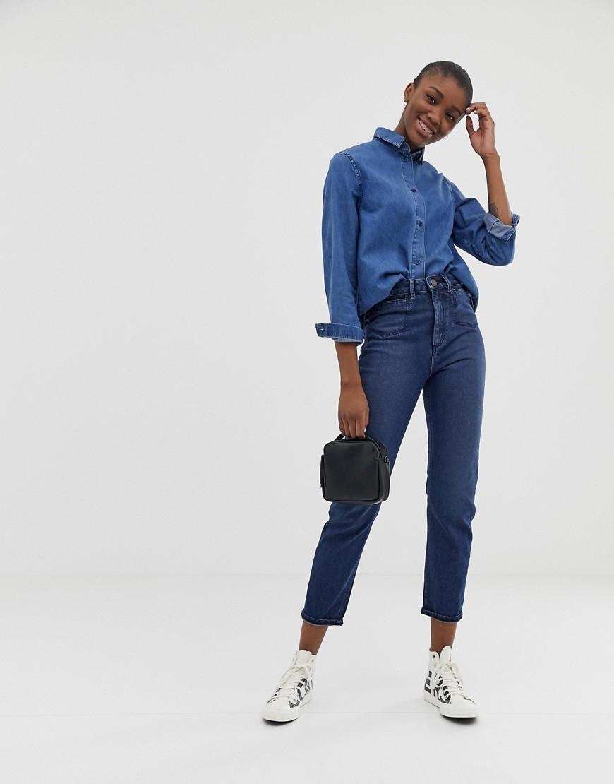 4c26dbf453 ASOS. Women s Recycled Farleigh High Waist Slim Mom Jeans In Dark Wash Blue  With Front Patch Pocket Detail