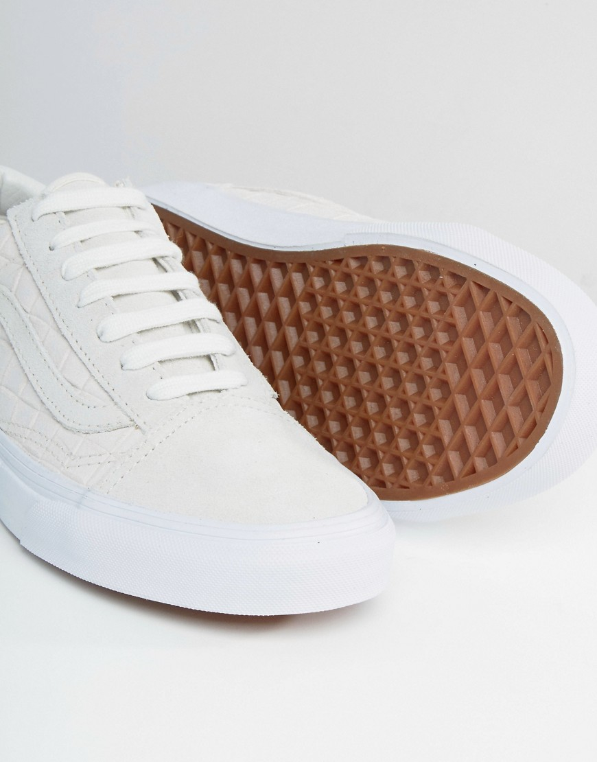 White Skool In Faux Cream Vans Lyst Trainers Old Croc qBffwH0