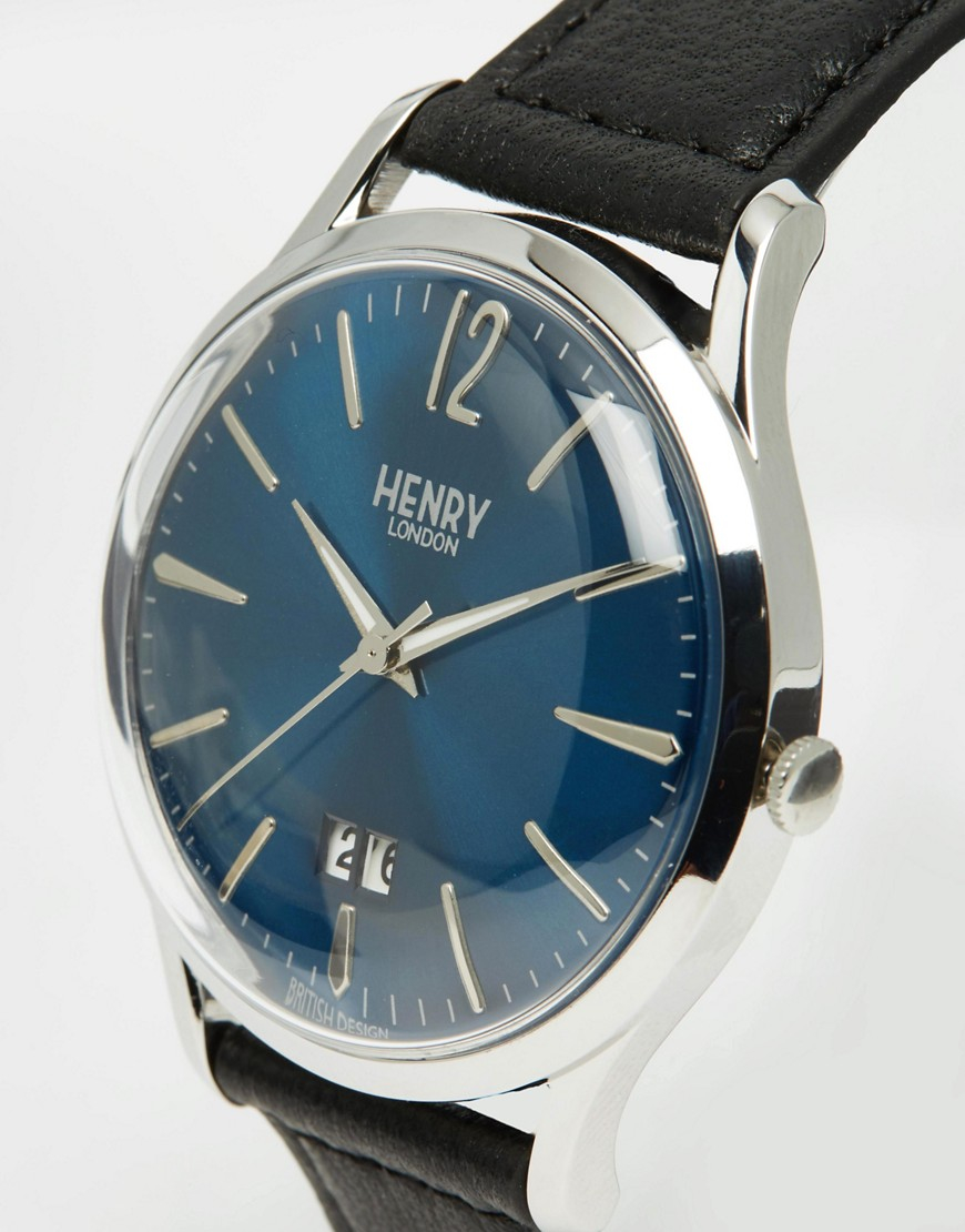 henry london knightsbridge watch with leather strap in black for men lyst. Black Bedroom Furniture Sets. Home Design Ideas