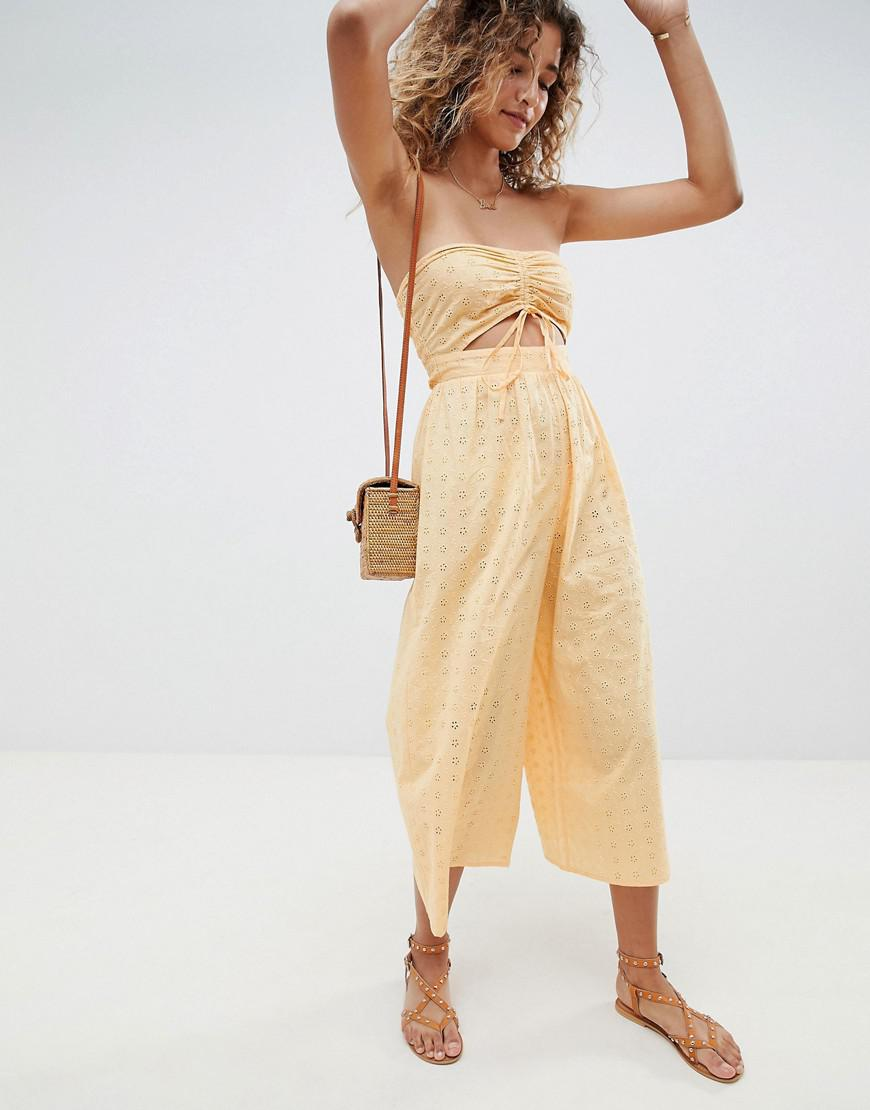 0e513a70d04 Lyst - ASOS Bandeau Jumpsuit With Ruched Front In Broderie in Orange