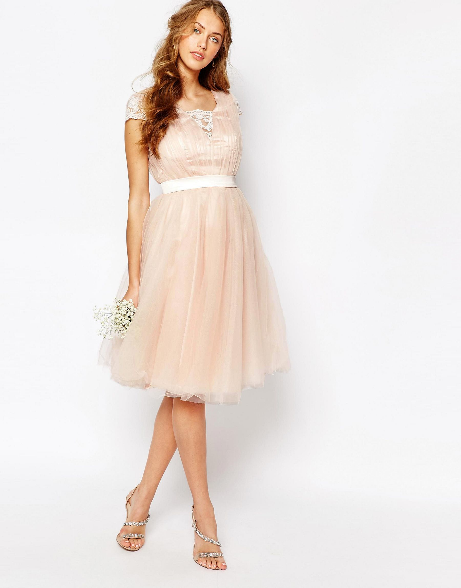 Lyst - Chi Chi London Midi Dress With Tulle Skirt And Lace Back in Pink 0c6d90e36ee