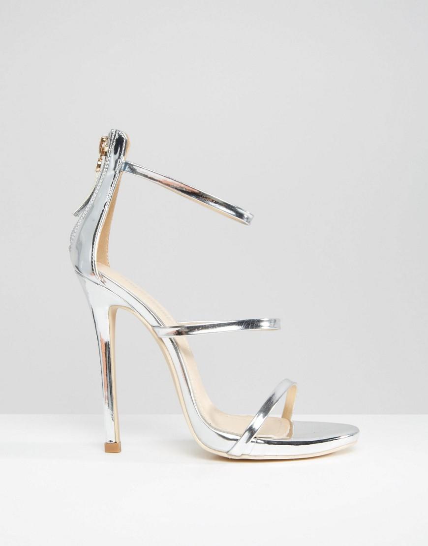 f34f5d96c7 Public Desire Aisha Strappy Silver Heeled Sandals in Metallic - Lyst