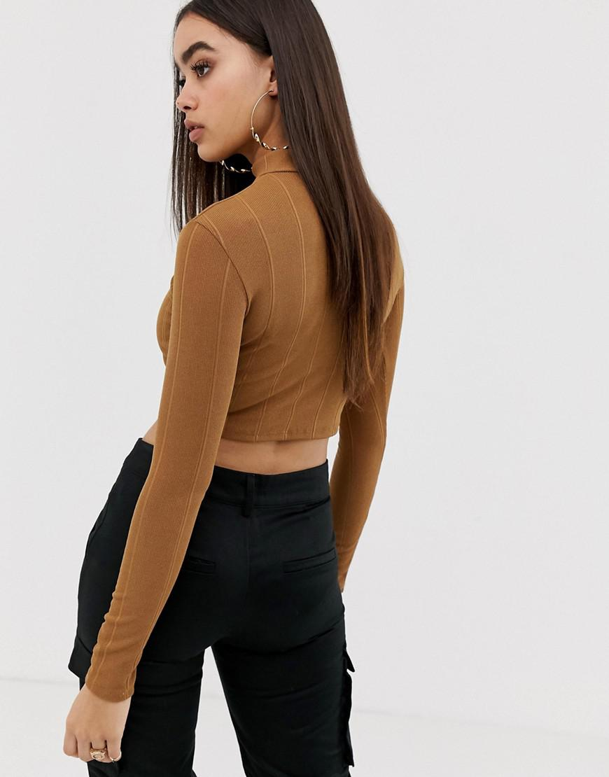 8de309d94f Missguided Ribbed Long Sleeve Crop Top In Tan in Blue - Lyst
