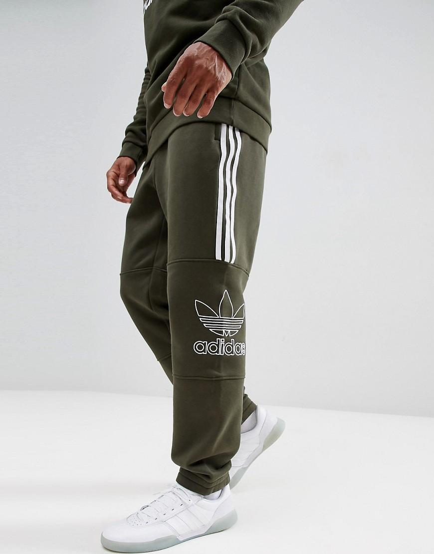 adidas Originals Outline Jersey Joggers In Green Dh5792 for Men - Lyst