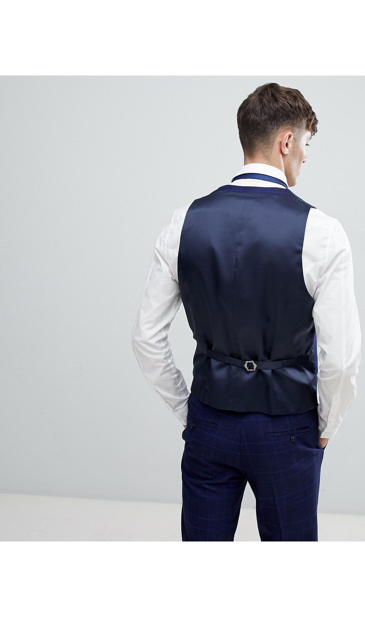 Moss Bros Flanel Moss London - Skinny Gilet Met Stretch Van Geruit Flanel in het Blauw voor heren