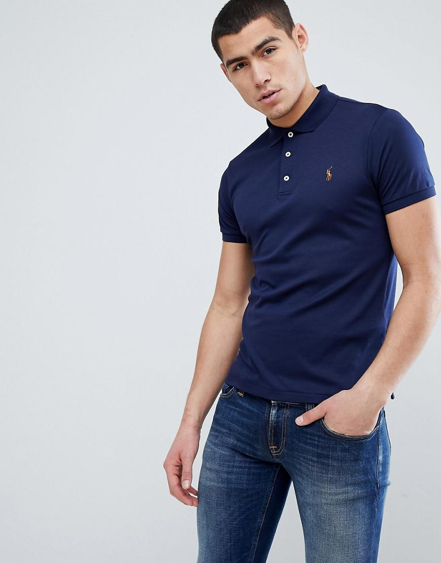 4d1b9427 Polo Ralph Lauren Slim Fit Pima Soft Touch Polo Multi Player In Navy in  Blue for Men - Lyst