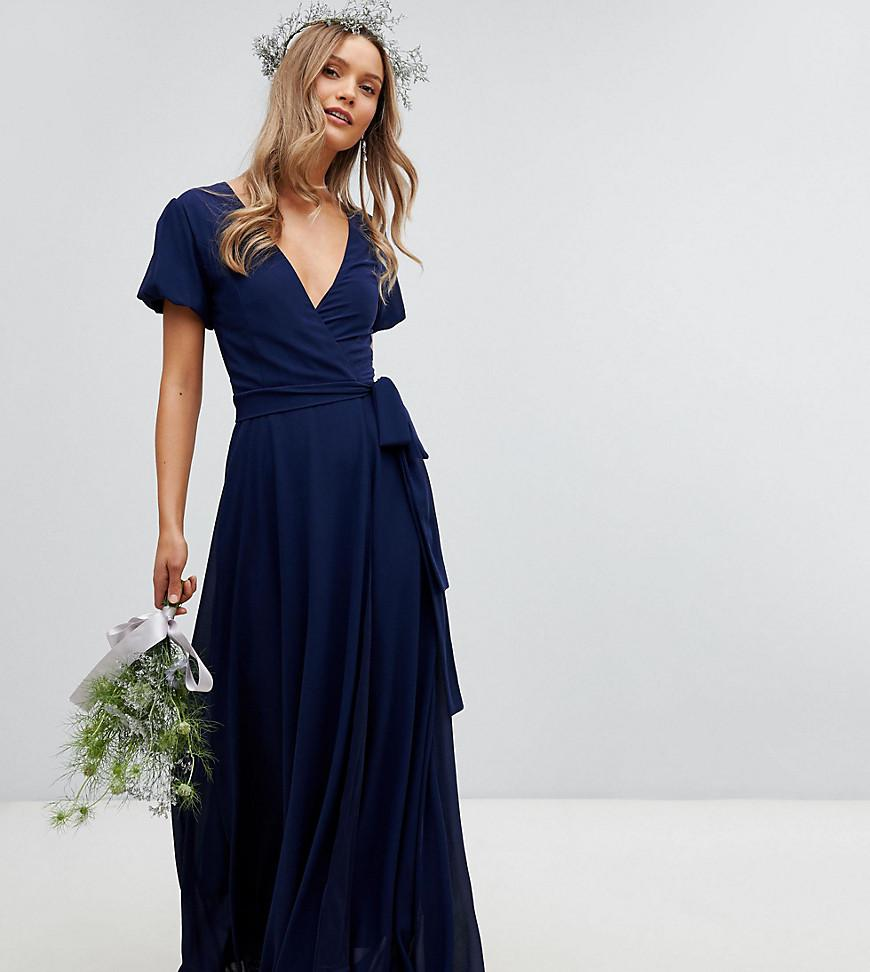 dcab54a365a0 TFNC London Wrap Maxi Bridesmaid Dress With Tie Detail And Puff ...