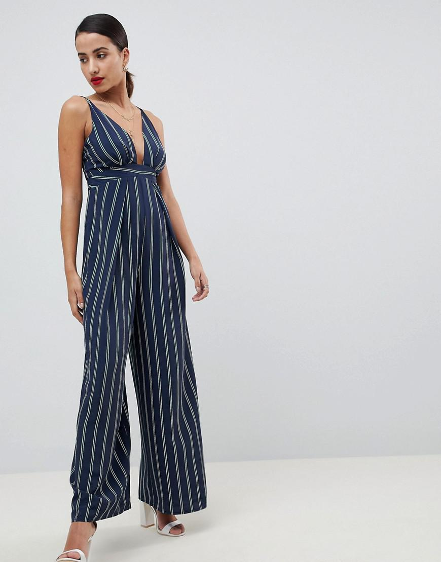 9af07b7d7071 ASOS Stripe Jumpsuit With Cross Over Strap Detail in Blue - Lyst