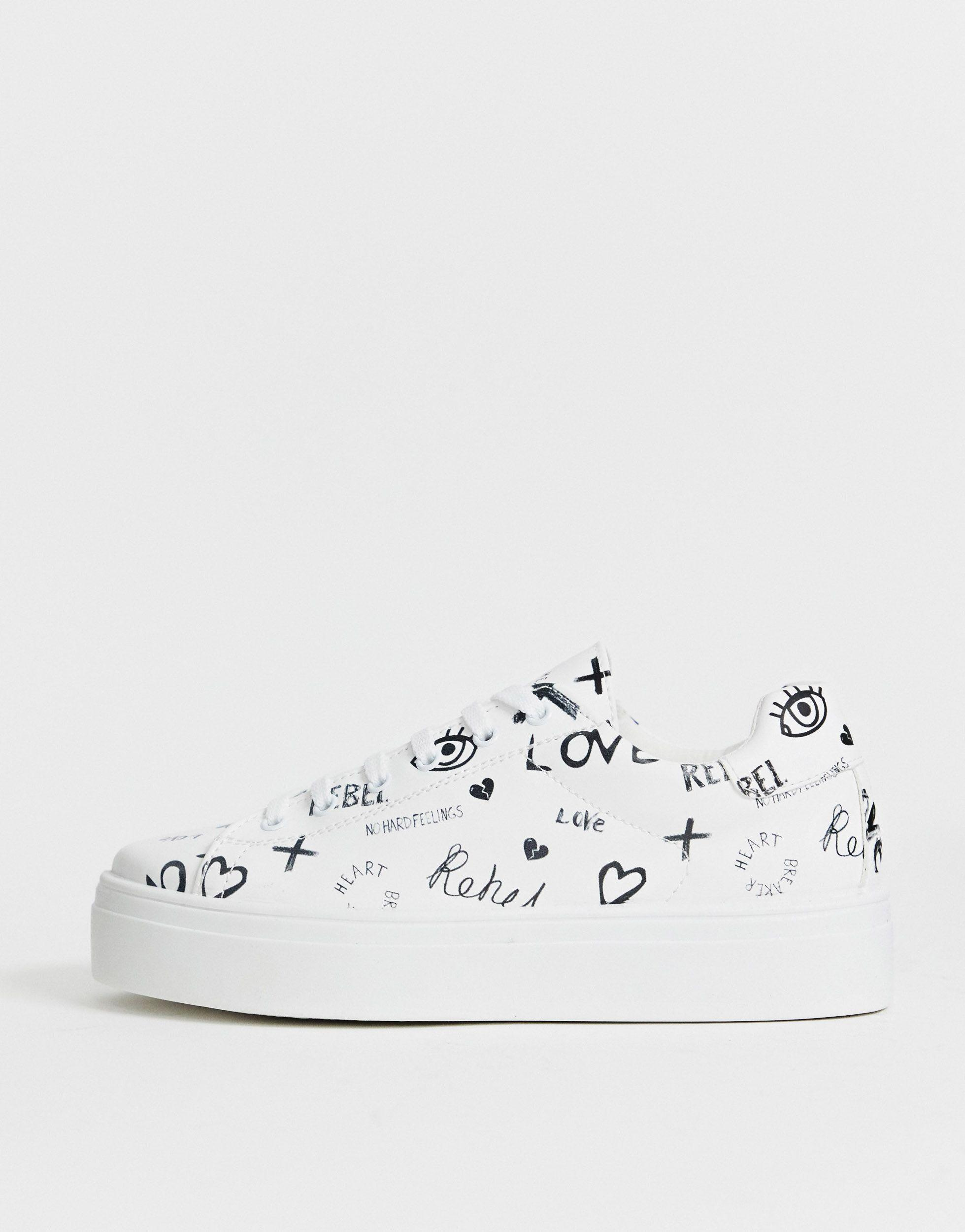 Zapatillas gruesas con plataforma y logo en blanco Day Light ASOS de Cuero de color Blanco