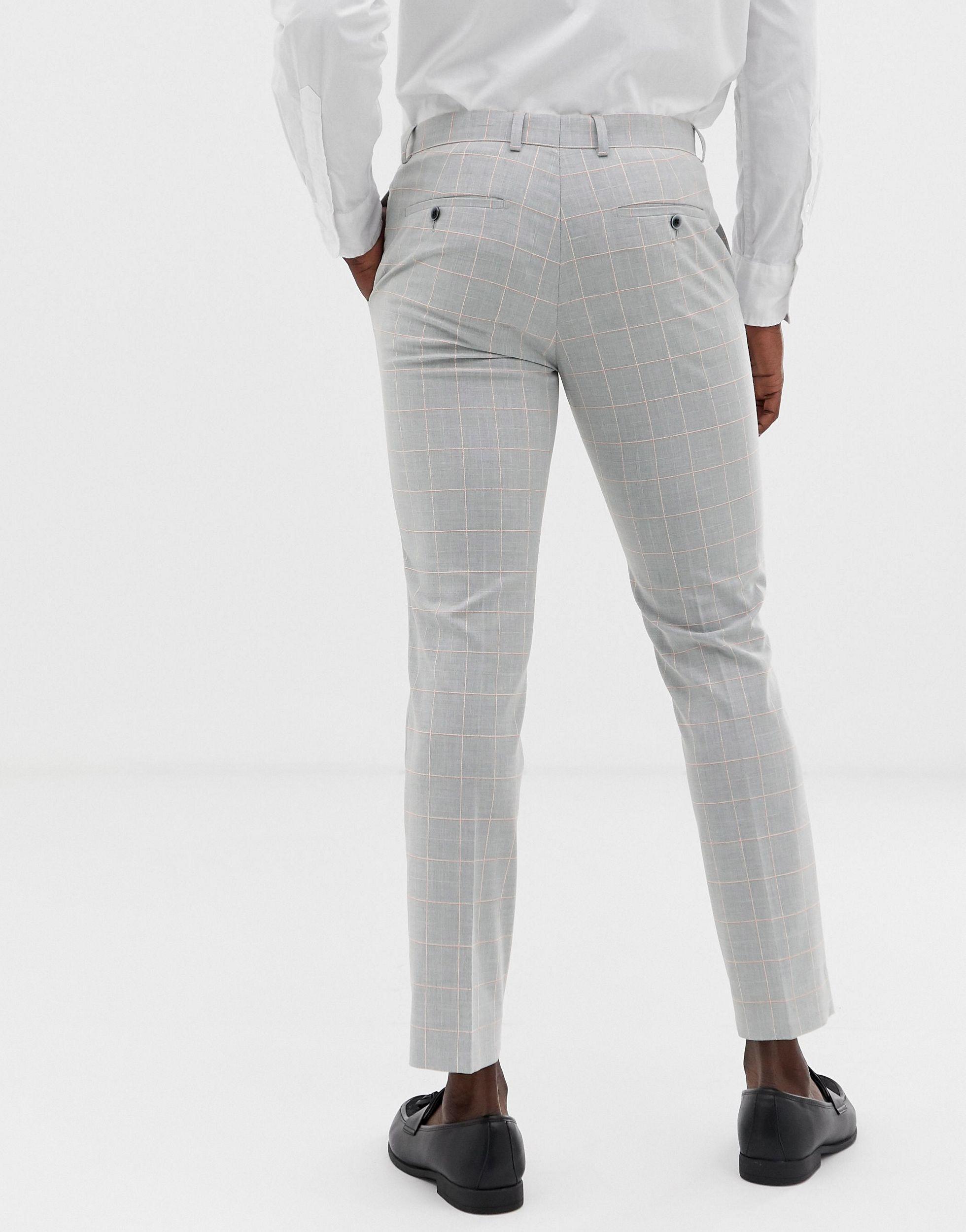 Moss Bros Synthetisch Moss London - Smalle Pantalon in het Grijs voor heren