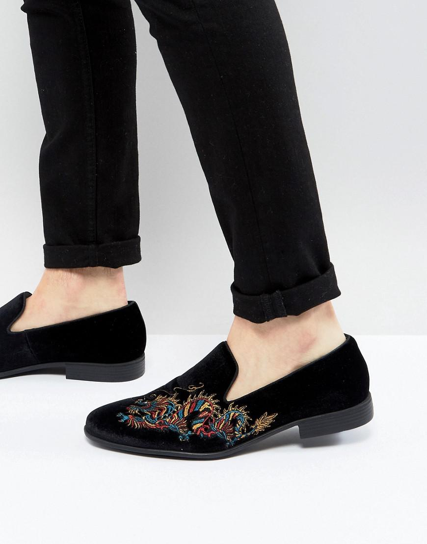 ASOS Wide Fit Loafers in Black Velvet With Dragon Embroidery clearance purchase MtRY5f