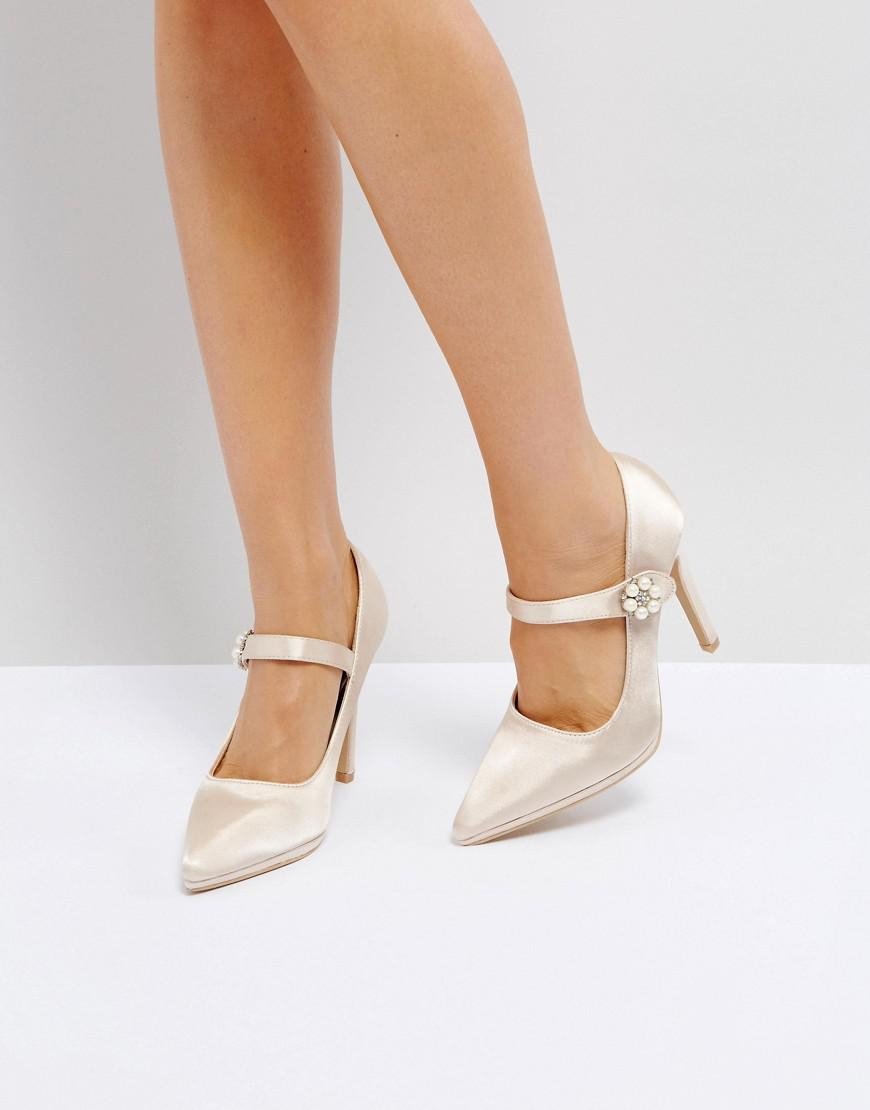 a870c5a6670 Lyst - True Decadence Nude Satin Pearl Detail May Jane Heeled Shoes ...