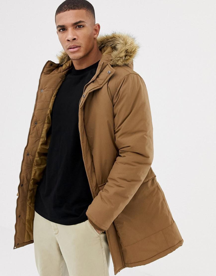 Brown Parka Coat Mens