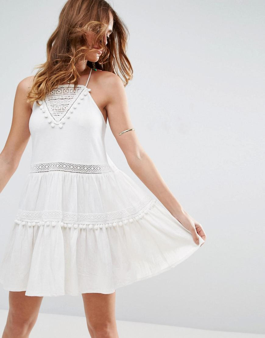 Lyst Asos Sundress With Lace Inserts And Pom Poms In White