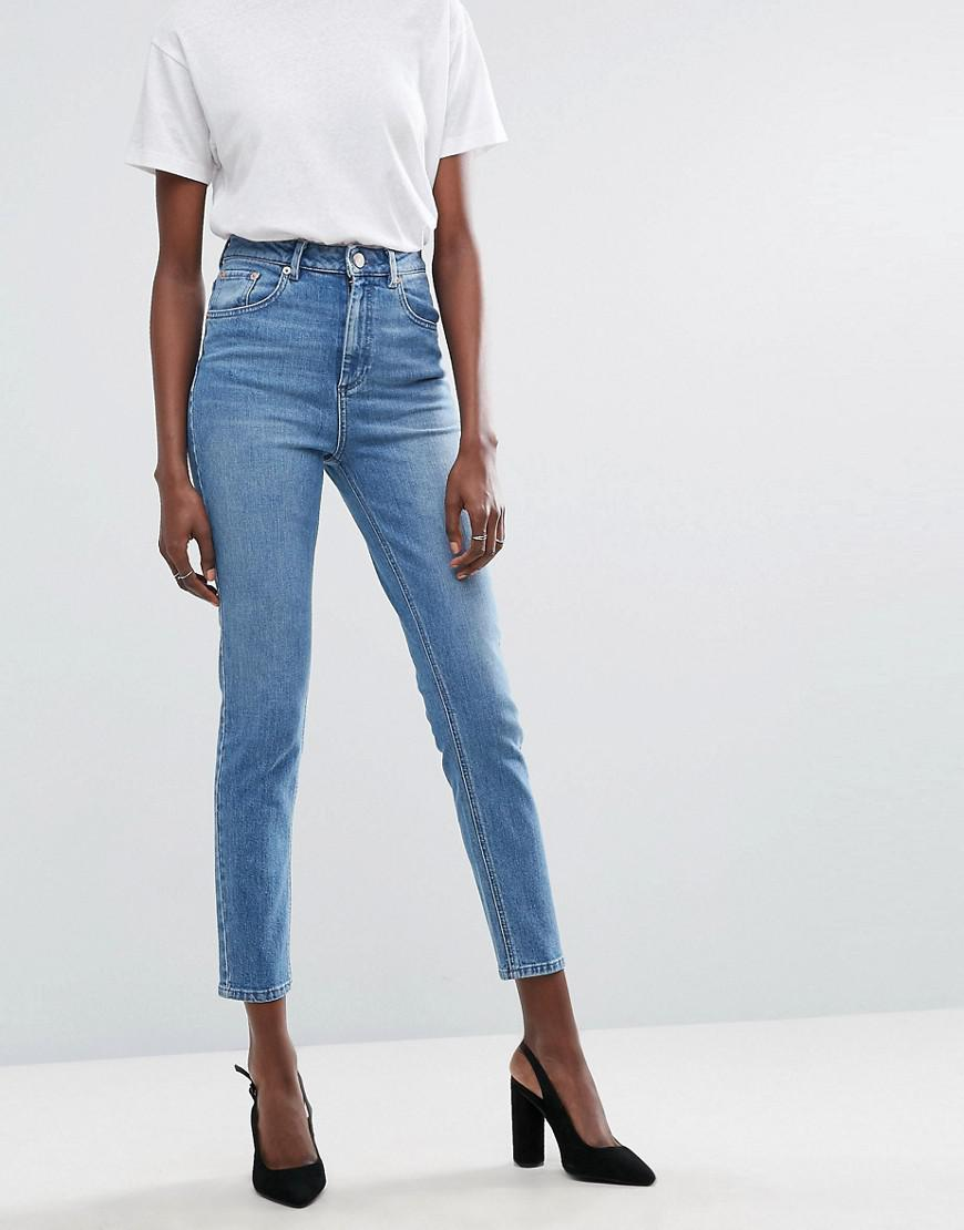 dd4259d1795b5 ASOS. Women s Blue Farleigh High Waist Slim Mom Jeans In Light Stone Wash