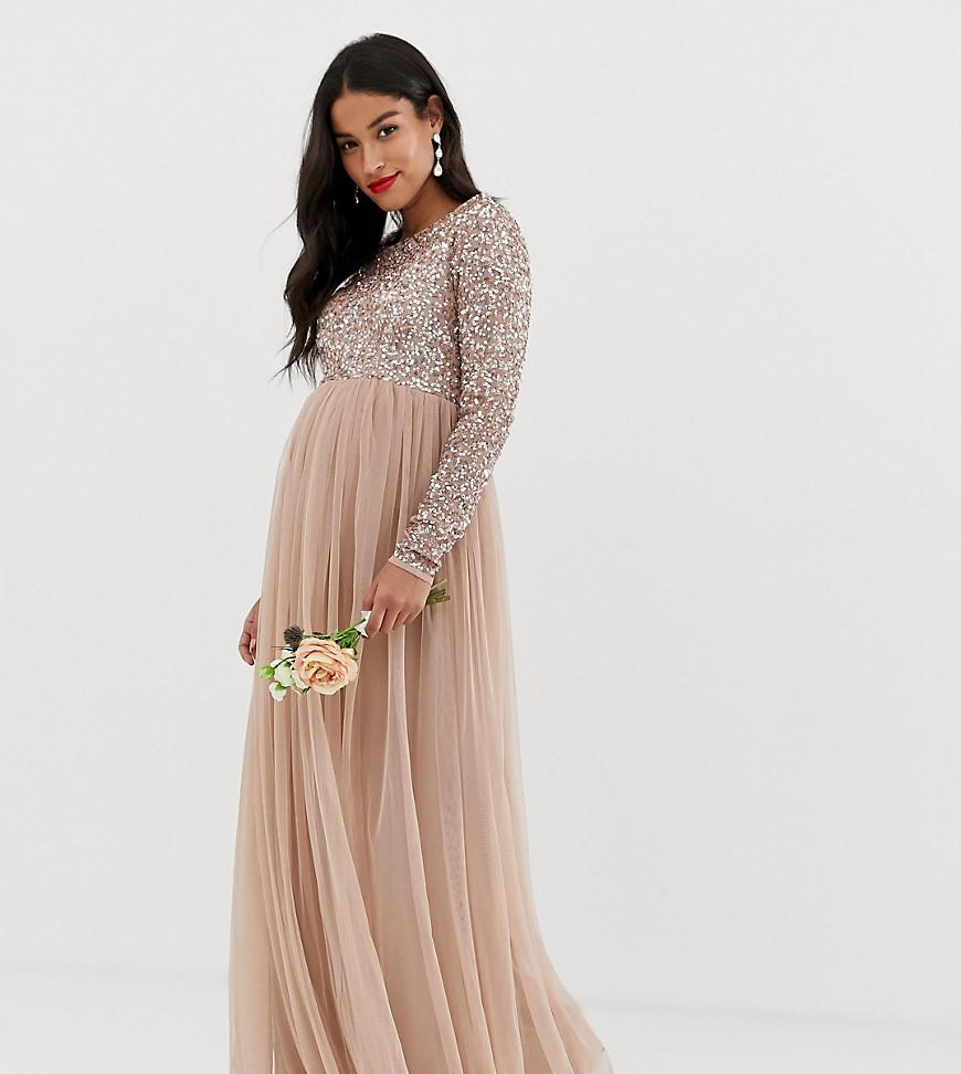 e39e9451498 Maya Maternity. Women s Brown Bridesmaid Long Sleeved Maxi Dress With  Delicate Sequin And Tulle Skirt ...