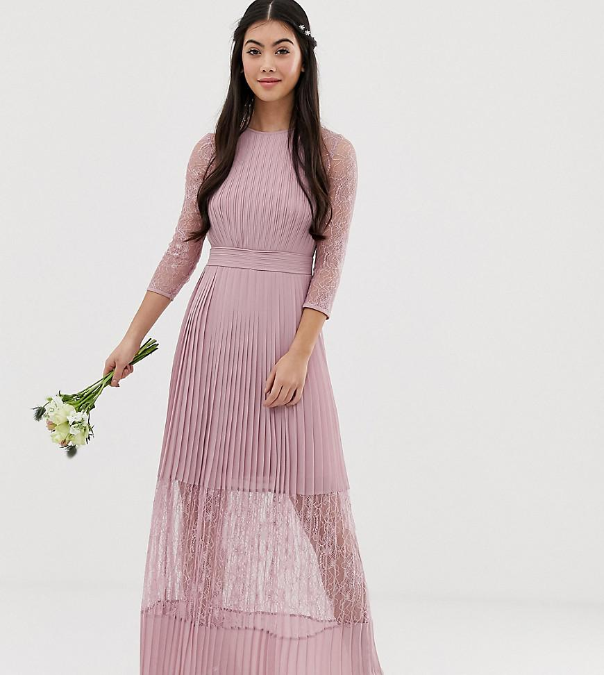 28371f917997 TFNC London. Women s Bridesmaid Exclusive Pleated Maxi Dress With Lace  Insert In Pink