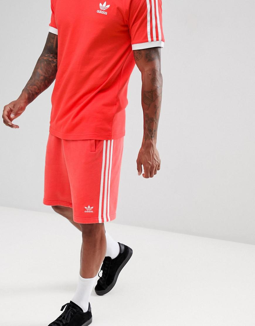 adidas Originals 3-stripe Jersey Shorts In Red Dh5800 for Men - Lyst