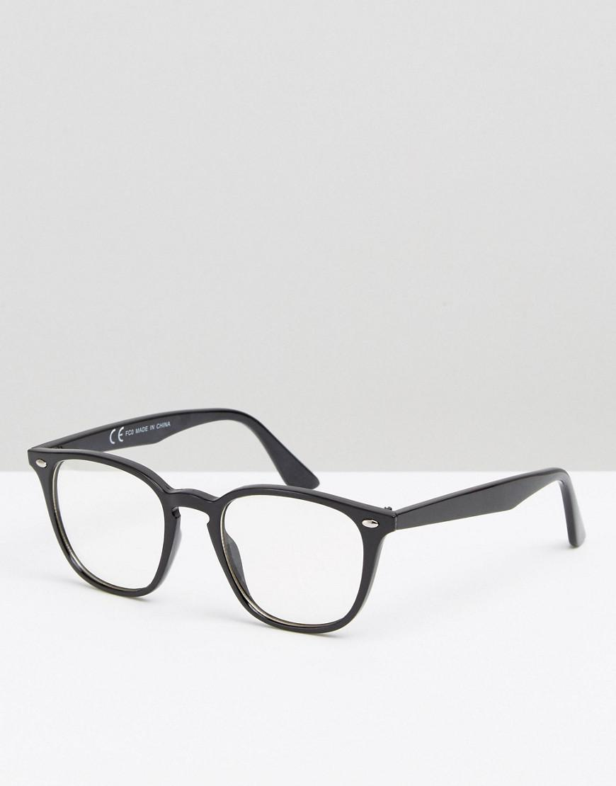 a6f36fbc8ef Asos Square Lens Geeky Clear Lens Glasses in Black - Lyst