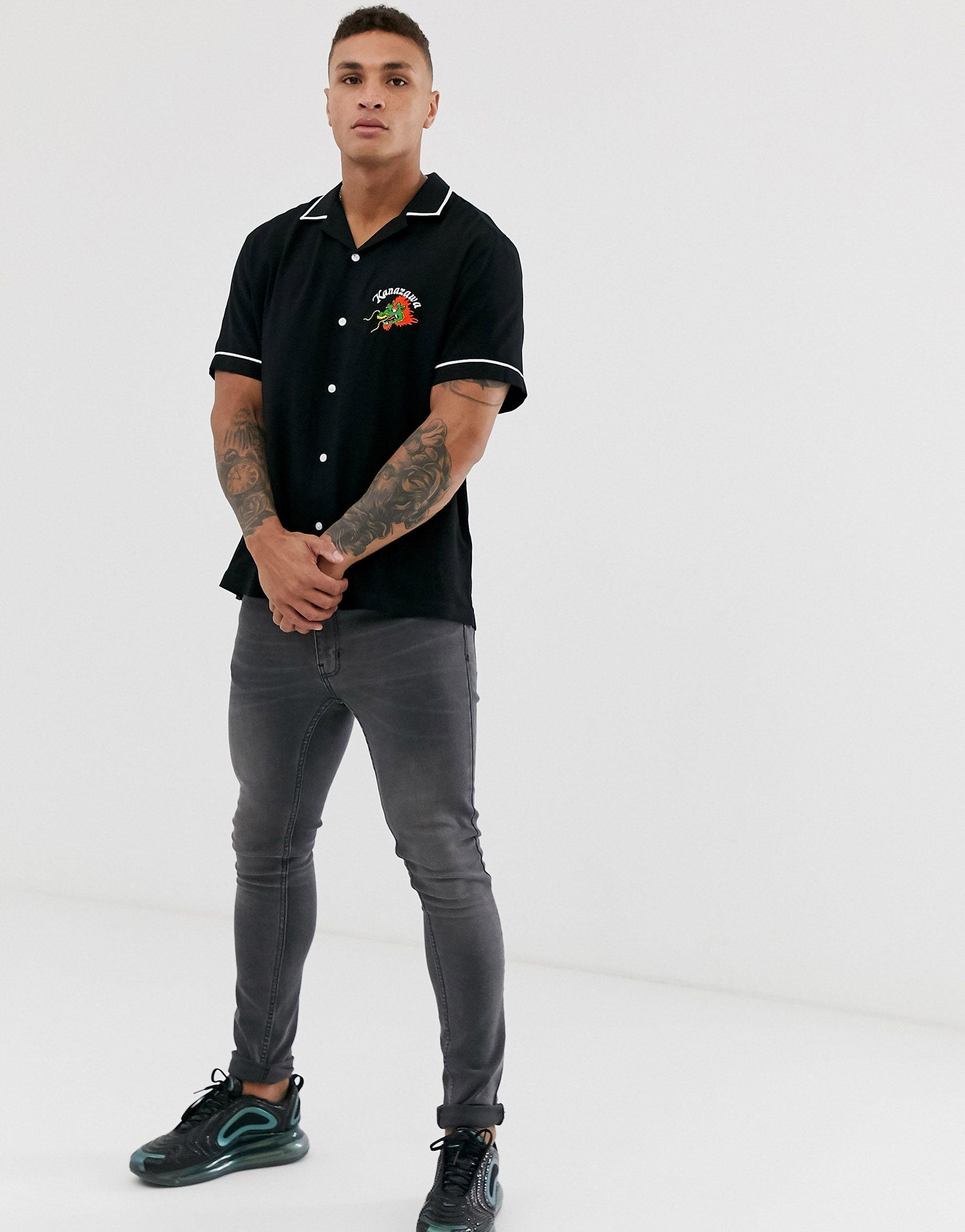 ASOS Synthetisch Ruimvallend Viscose Overhemd Met Borduursel Op in het Zwart voor heren