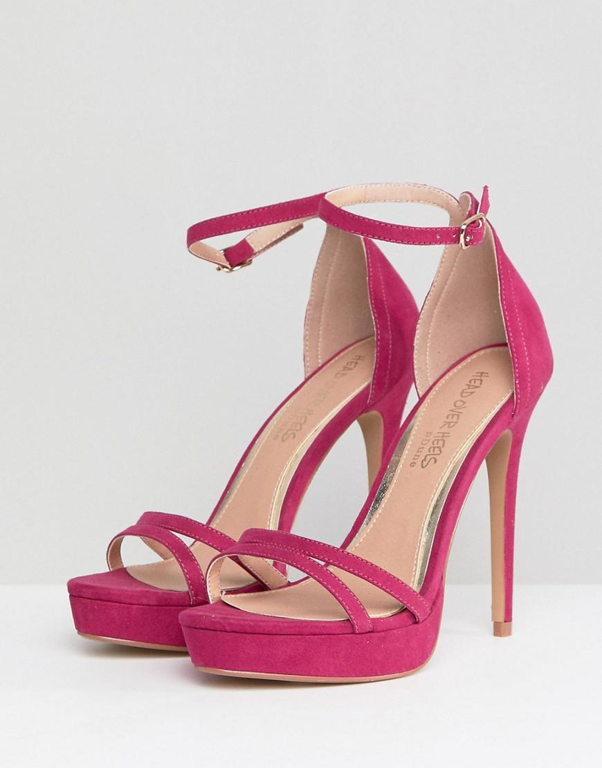 0e12d57644bf0d Dune Head Over Heels Bright Pink Ankle Strap Going Out Heeled Sandal in Pink  - Lyst