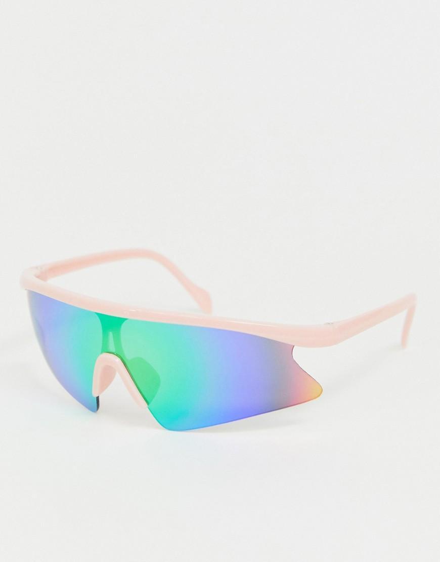 2ae5500339 ASOS. Gafas de sol de estilo aviador con montura al aire rosa y lentes ...