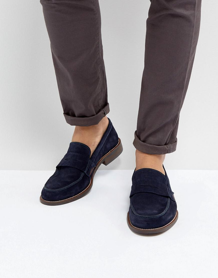 Dune Penny Loafers In Navy Suede in