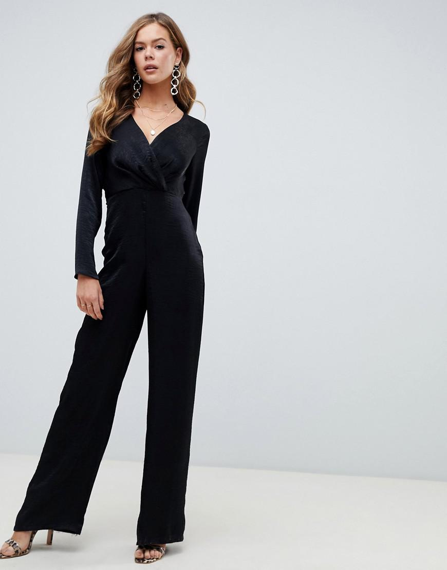 0702541eb86d ASOS Satin Jumpsuit With Wrap And Pleat Detail in Black - Lyst