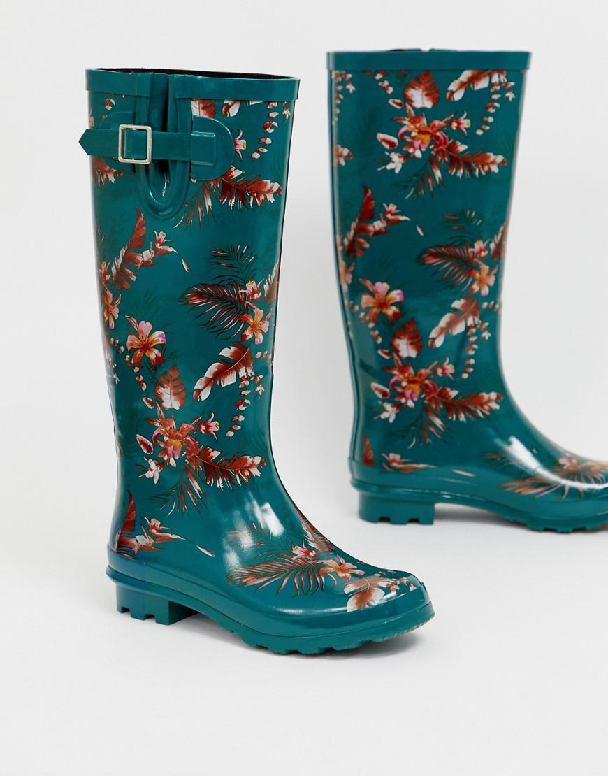 dc133e657caa ASOS Grace Floral Wellies in Green - Lyst