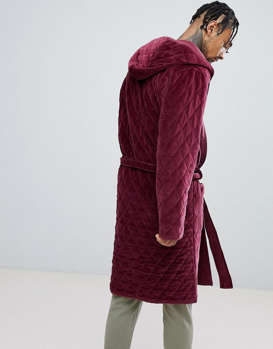 Lyst - ASOS Asos Hooded Dressing Gown Quilted In Velour in Red for Men 6bd2e1070
