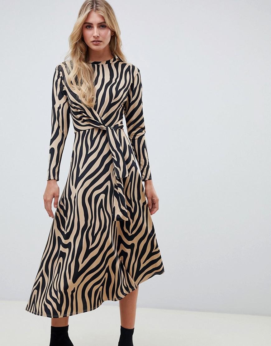 87eb5b8406c43 ASOS Tie Waist Maxi Dress In Animal Print - Lyst