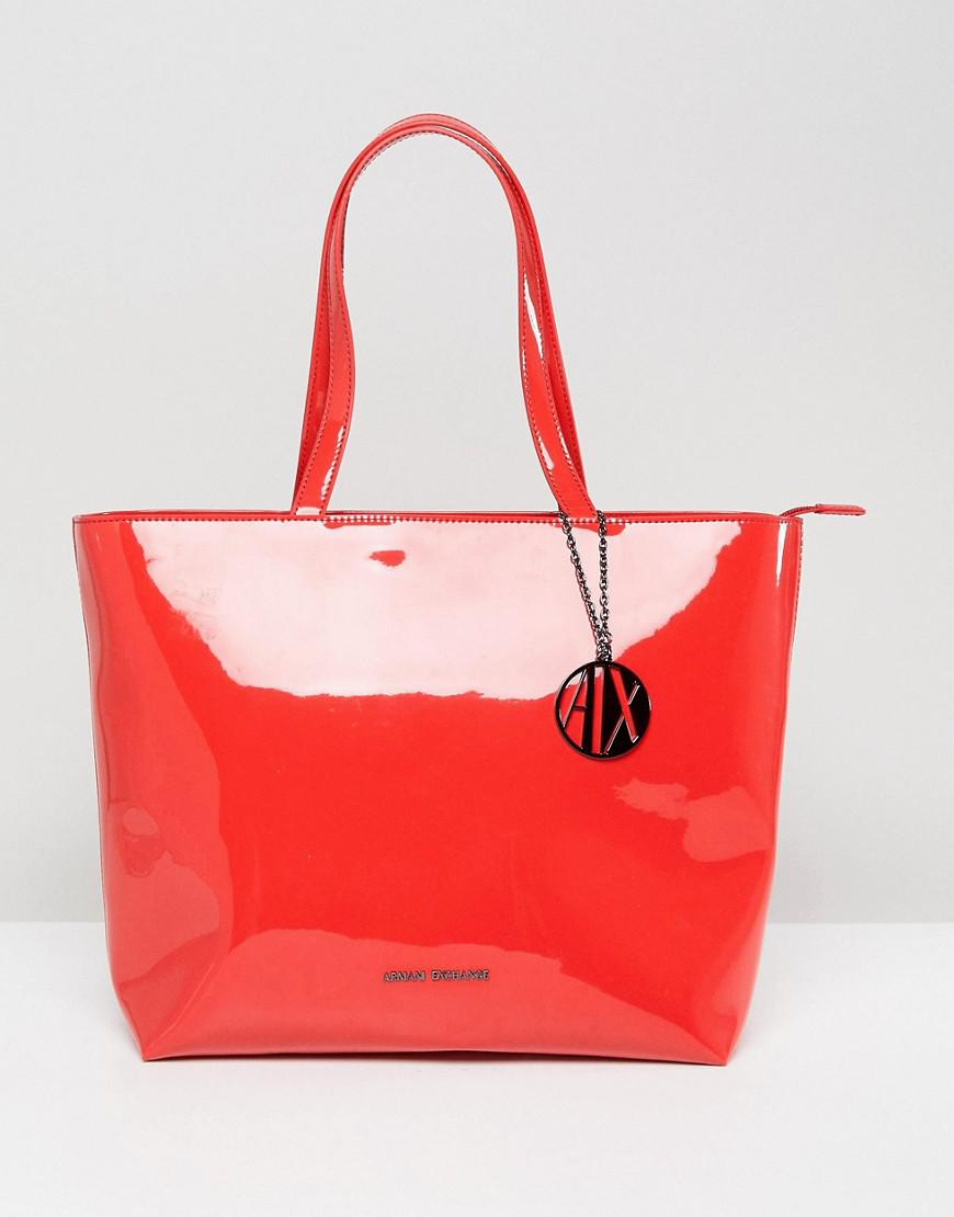f770e497d531 Armani Exchange Smooth Red Tote Bag in Red - Lyst