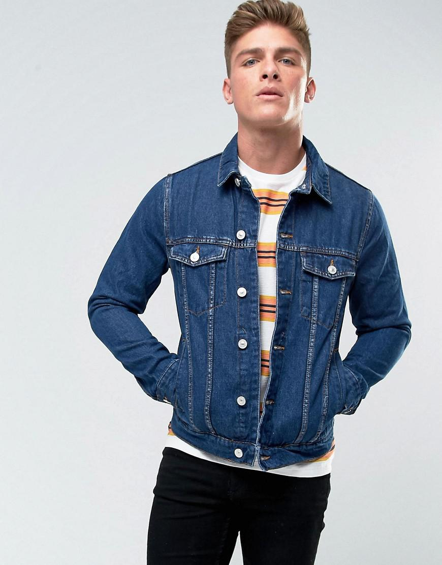Lyst - Bershka Regular Fit Denim Jacket In Mid Wash in Blue for Men