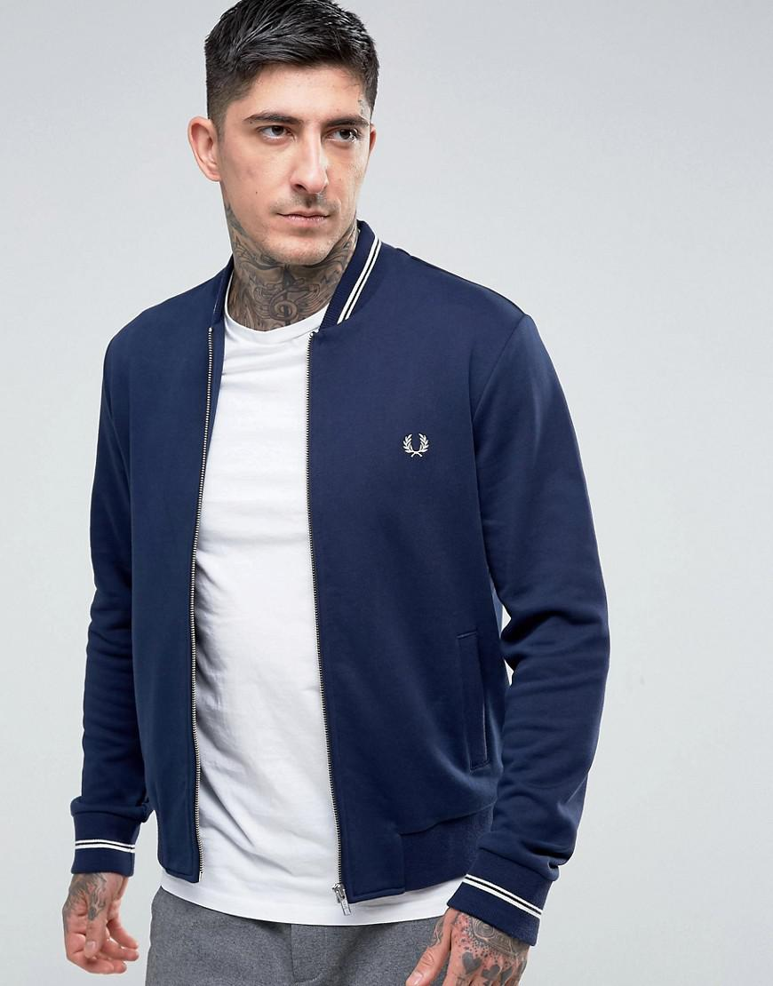 lyst fred perry hooded zip through logo sweat in navy in blue for men. Black Bedroom Furniture Sets. Home Design Ideas