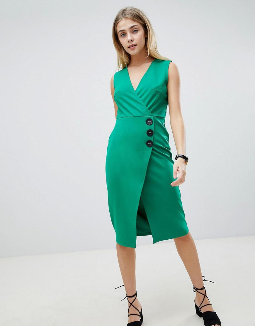 Lyst - Asos Design V Neck Wrap Dress With Button Detail in Green