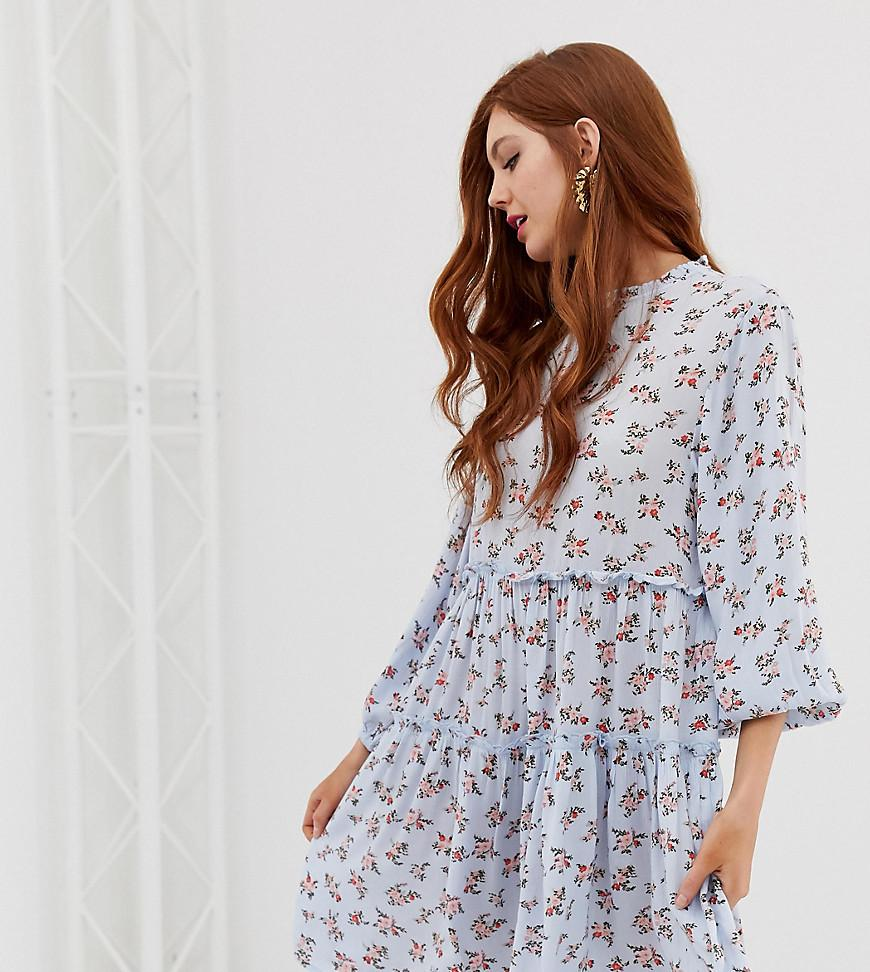 333389550263 Stradivarius Str Ditsy Print Smock Dress in Blue - Save 11% - Lyst