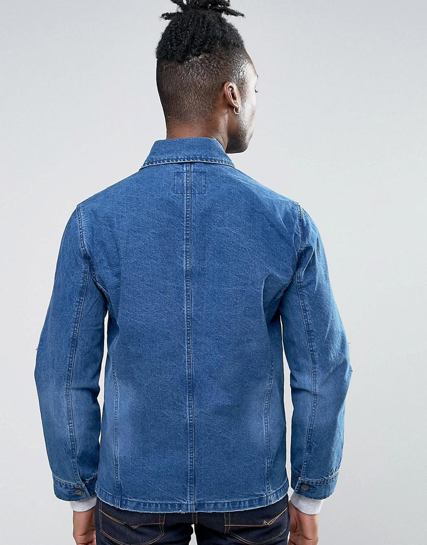 pepe jeans workwear denim jacket in blue for men lyst. Black Bedroom Furniture Sets. Home Design Ideas