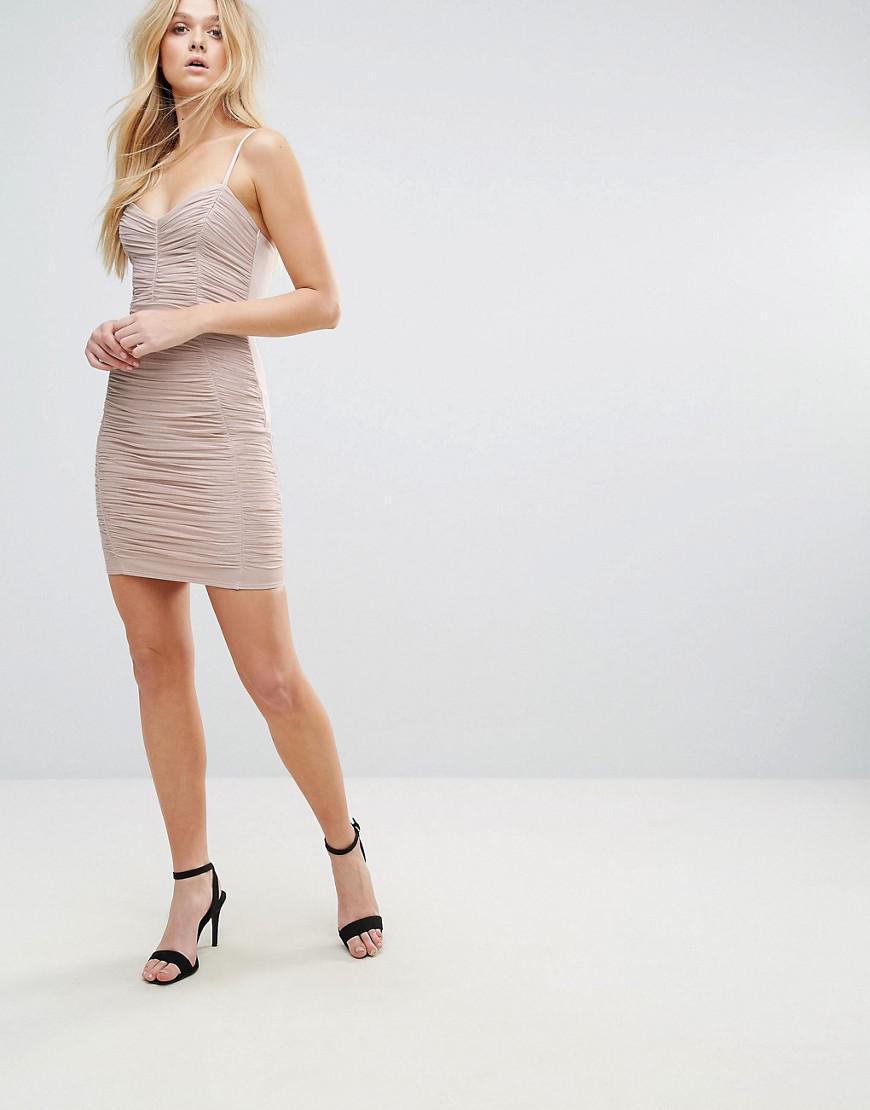 24180c5d Lipsy Foil Ruched Cami Mini Dress in Pink - Lyst